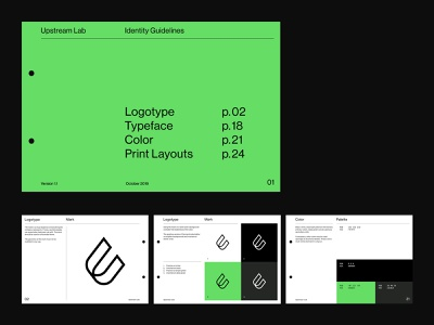 Upstream Lab — Brand Guidelines 2 graphic design grid corporate identity identity branding logo simple clean minimal guidelines brandbook