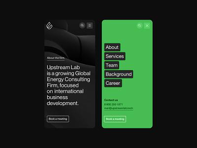 Upstream Lab — Index Mobile menu energytech corporate ui website minimal clean web mobile mobile website