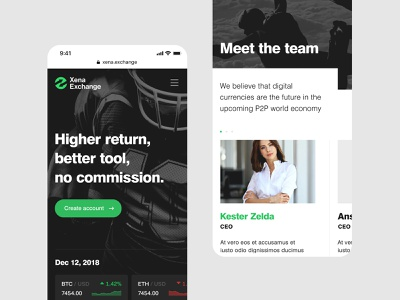 Xena — Mobile Website Pages design website mobile website design mobile website iphone ios mobile index page web crypto crypto currency corporate content grid typography green minimal simple clean ui