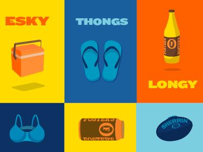 A to Z of Aussie Slang aussie slang australia esky thongs long neck beer footy football illustration bra yellow blue orange