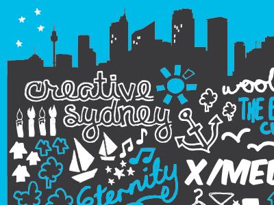 Vivid Sydney Poster Concept poster illustration duotone blue grey sydney australia arts
