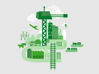 Putting NSW 1st government illustration green grey city urban