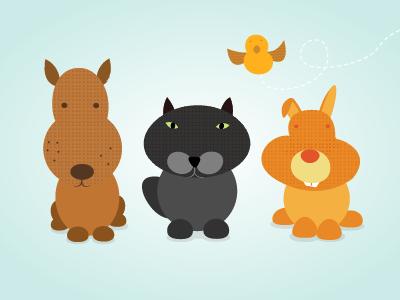 Character Design - Pets character dog cat rabbit bird illustration