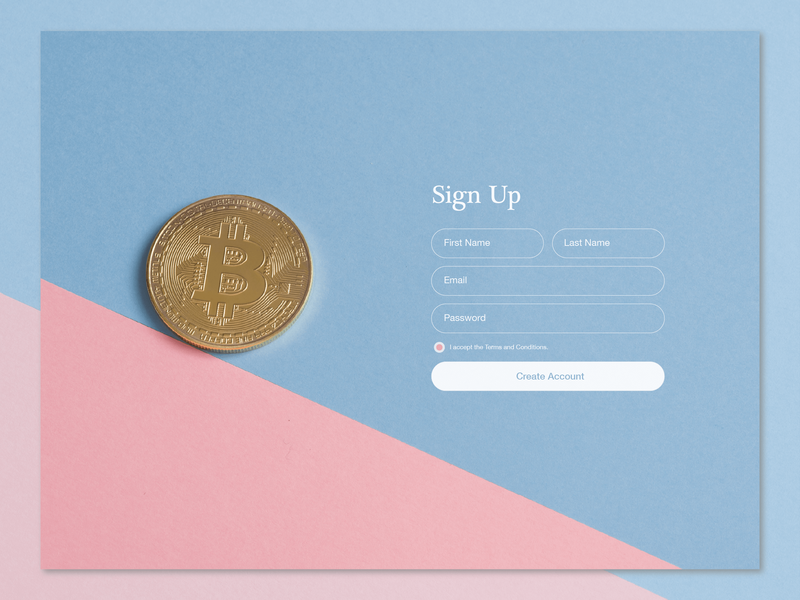 Crypto Currency Web Sign Up - Daily UI 001 signup form web design web ux ui crypto currency creative dailyui dailyui 001 signup design