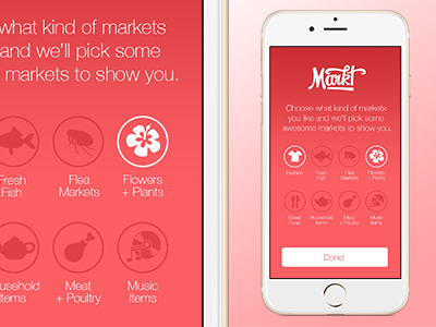 Markt: London - Onboarding icons onboarding app design ui ux markets london pink ios app ios