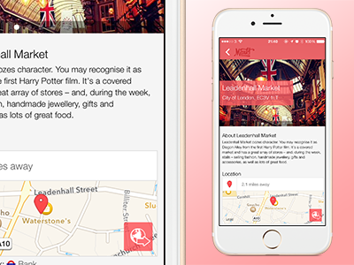 Markt:London - Market Details ux ui pink onboarding markets london ios icons design app