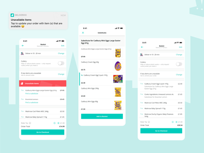 Deliveroo - select a substitute to complete your order checkout basket food delivery app food ecommerce substitute deliveroo