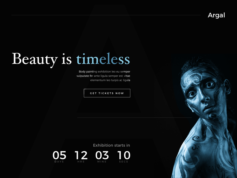 Daily UI #3 model cta ghost website painting exhibition beauty countdown page landing