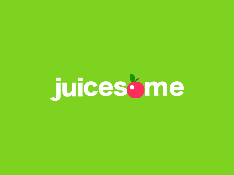Logo design - Juicesome domain brandable brand green cherry logo juice