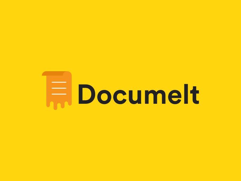 Logo design - Documelt website software app name domain paper document logo