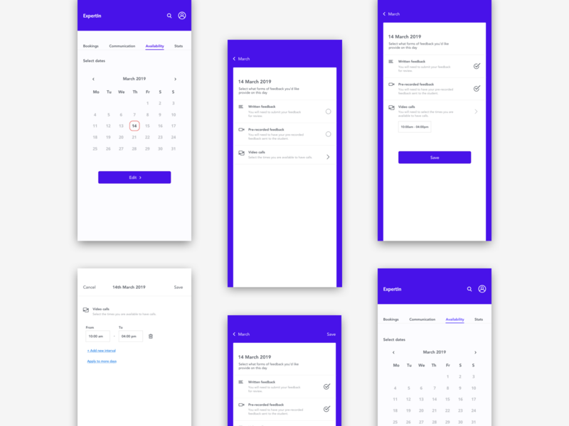 Calendar - Updating Availability availability branding calendar app daily 100 challenge dailyui