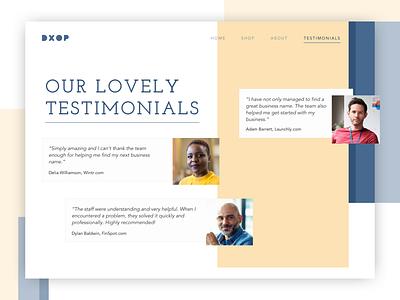 Testimonials Page reviews testimonials daily 100 dailyui daily 100 challenge
