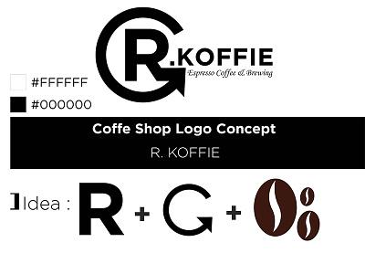 R Koffie Coffe Shop coffee company typography illustration generic art illustrator design