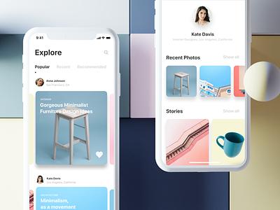 Social media app concept search react native ios12 mobile app architechture interior design 2019 design ux ui