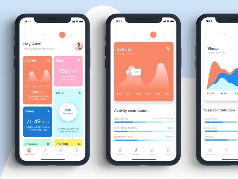 Activity Tracker App graph water control training calories analitycs blue red activity health fitness app chart dashboard ux ui react native mobile app ios12 design 2019