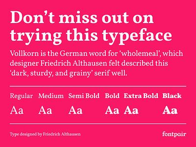 Vollkorn - Serif Google Font vollkorn serif google font serif google fonts google font font pairing font pair font typography typeface googlefonts fonts fontpair