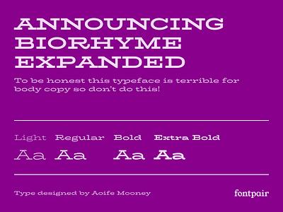 BioRhyme Expanded - Display Google Font biorhyme expanded biorhyme display font display font google fonts google font font pairing font pair typography typeface googlefonts fonts fontpair