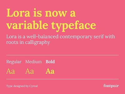 Lora - Serif Google Font lora font lora typeface cyreal contemporary serif variable typeface lora font google fonts google font font pairing font pair typography typeface googlefonts fonts fontpair