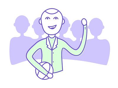 C'Mon team coach man happy wip web vector line color graphic design illustration
