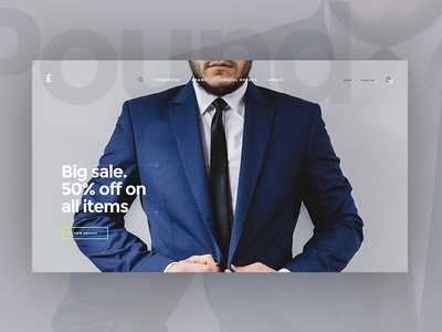 Pound. Ecommerce concept e-commerce fashion store web design grey man shop online