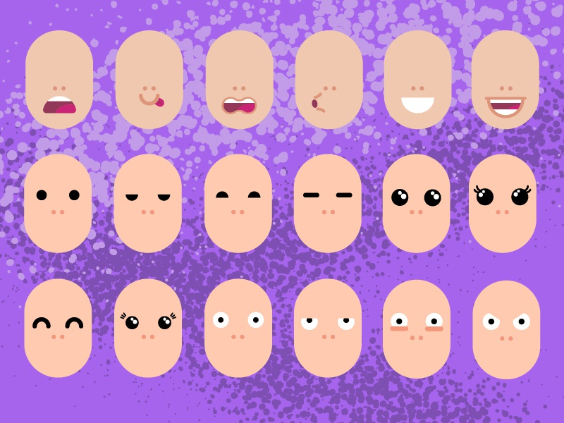Different kinds of mouths and eyes. by ErgaShow on Dribbble