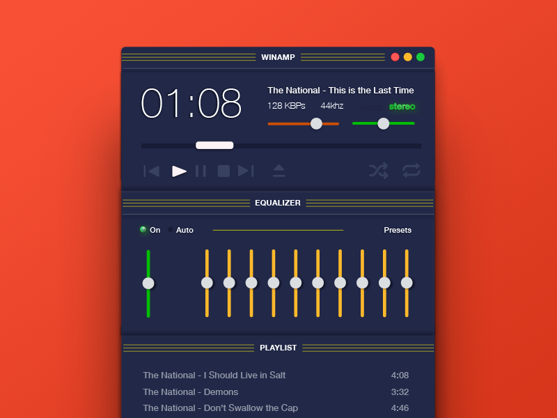 It really whips the llama's ass 009 tbt dailyui music player music winamp tbt