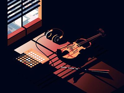 aveleon - over it headphones isometric illustration contrast midi controller violin music album cover aveleon