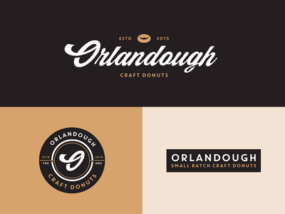 Orlandough Branding Explorations script logomark branding doughnuts dough orlando logo donut