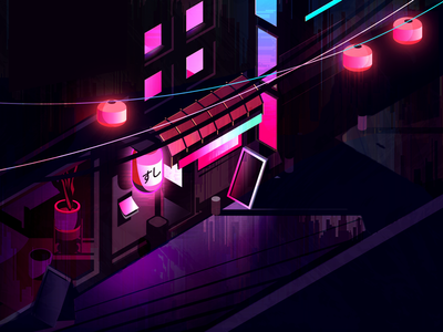 at night neon blues hot pinks much colors oh wow isometric blade runner cyberpunk