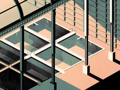 sutro baths - initial exploration dorky colors isometric san francisco sf illustration sutro baths