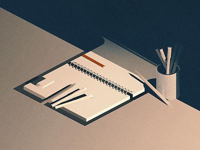 writer's block tabula rasa writers block not the movie notebook isometric illustration