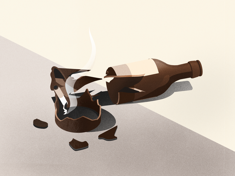 broke fi broke bois inktober brown isometric bottle broken illustration broken bottle