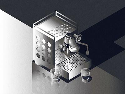 day 21 ooshiny isometric illustration espresso machine