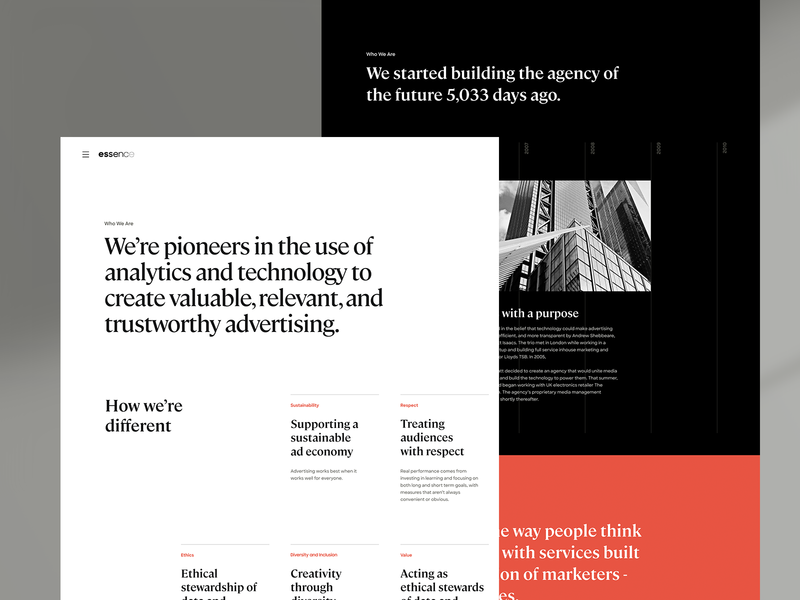 Essence About Page layout typography design essence website ui