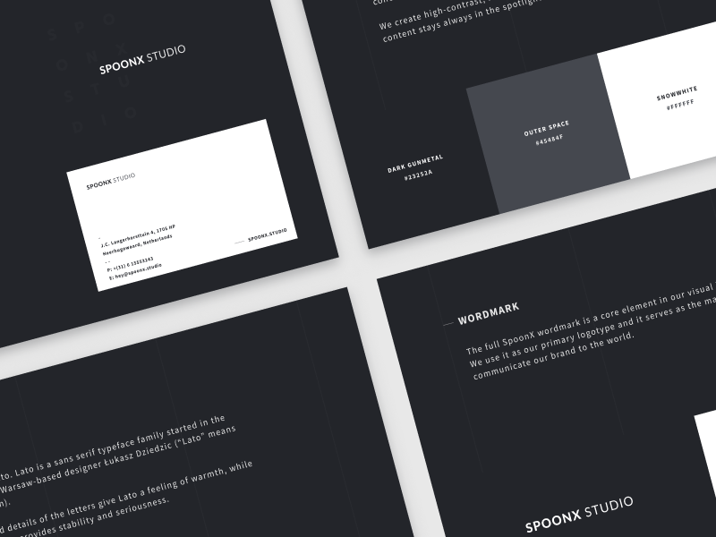 SpoonX Studio Brand Guidelines print color styleguide mark typography agency brand identity logo guidelines brand book brand black and white