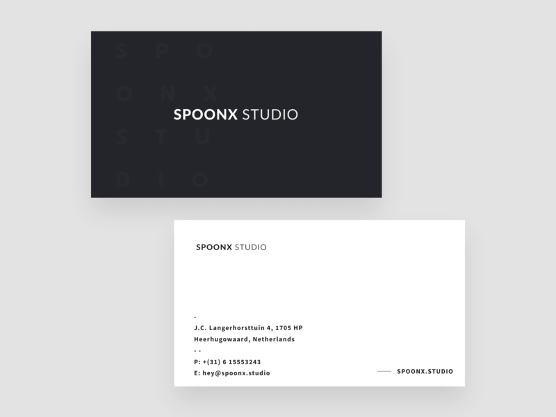 SpoonX Studio — Business Card print clean minimal dark business card branding typography creative brand identity brand black and white agency