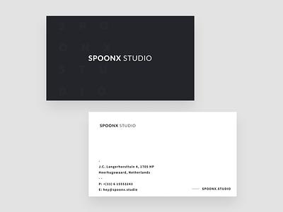 SpoonX Studio — Business Card print clean minimal dark business card branding typography creative brand identity brand black and white agency