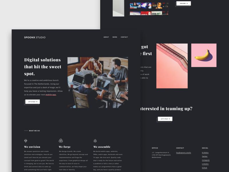 SpoonX Studio Homepage 🤙 design ux black and white ui homepage website typography portfolio minimal landing clean dark agency