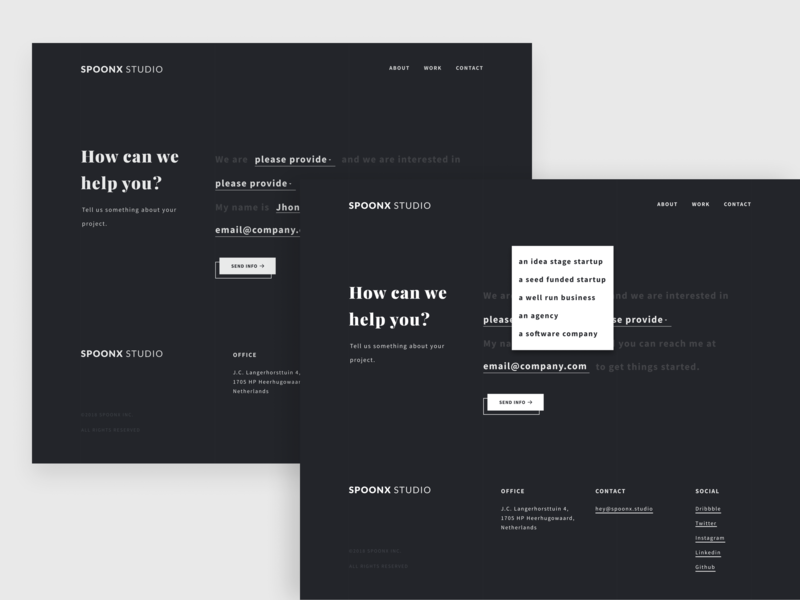 SpoonX Studio Contact Page 📮 form contact clean dark ux ui typography minimal design creative black and white agency