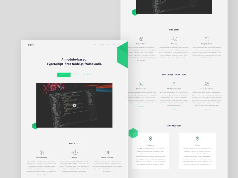 Stix - A module-based framework icons green documentation developers framework web landing page shapes vector design typography creative minimal