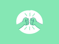 People rock when they work together! hands vector people illustration green fist bump design dap collaboration case study