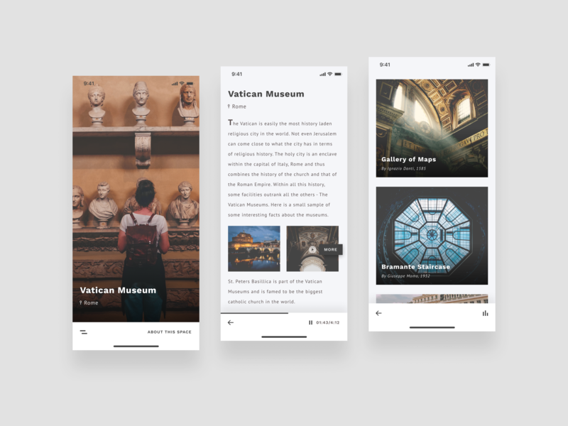 Museum App (WIP) work in progress ios iphone 10 music tour museum clean ux ui typography design creative minimal