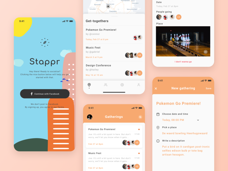Stappr - Let's be social clean creative iphonex ux minimal colorful map gathering event social app ui illustration mobile ios app