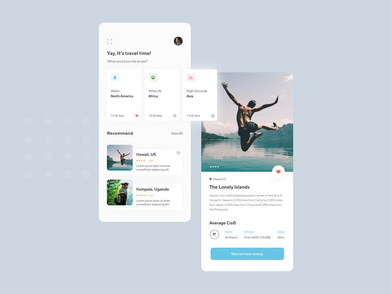 Travel App ios design screen design ui ux ui ux ux process app interface design