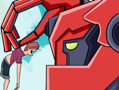 boy irritating with robot boy robot artwork art illustration