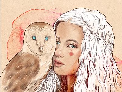 Owl and girl editorial arte acuarela ilustración animal búho ojos cara chica retrato portrait ilustración