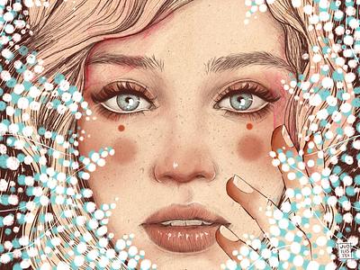 Paniculata retrato procreate flores mujer dibujo arte ilustración illustration portrait retrato