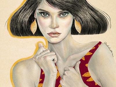 Jewels portrait woman editorial hair eyes ojos dibujo art illustration ilustraciones procreate retrato portrait