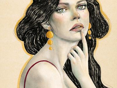 Jewels portrait woman editorial pendientes woman mujer modernismo art lucra u retrato portrait dibujo illustration art procreate