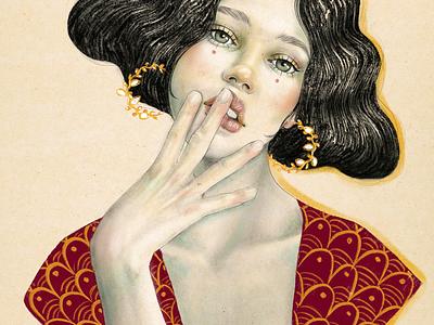 Jewels woman Portrait print jewels pendientes portrait illustration editorial arte modernismos artnouveau